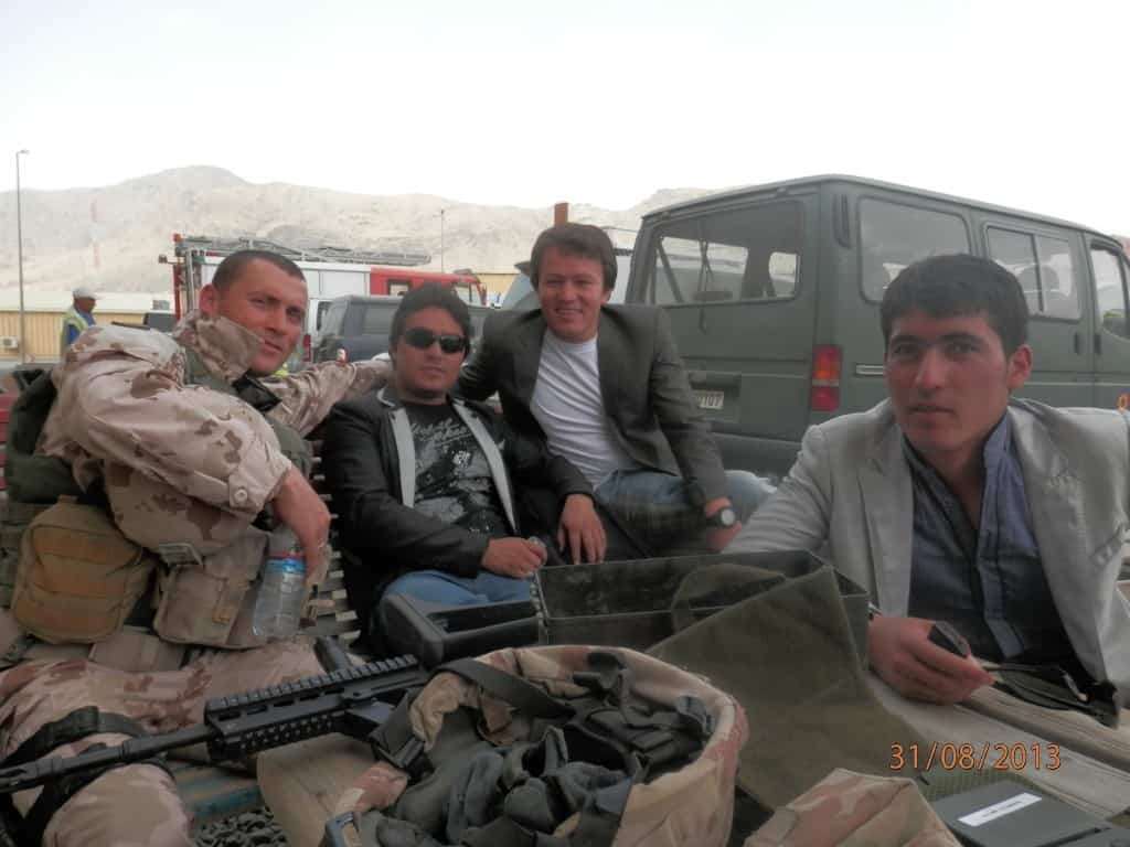 Lithuanian Major Vadimas Jeriominas pictured with Afghan interpreters Hamidullah Azimi, Basir Yousofi and Nader Yusufi