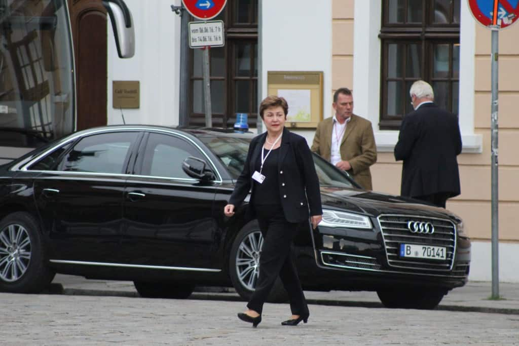 European Commission VP Kristalina Georgieva walking to the Saturday night banquet at the 2016 Bilderberg conference in Dresden, Germany